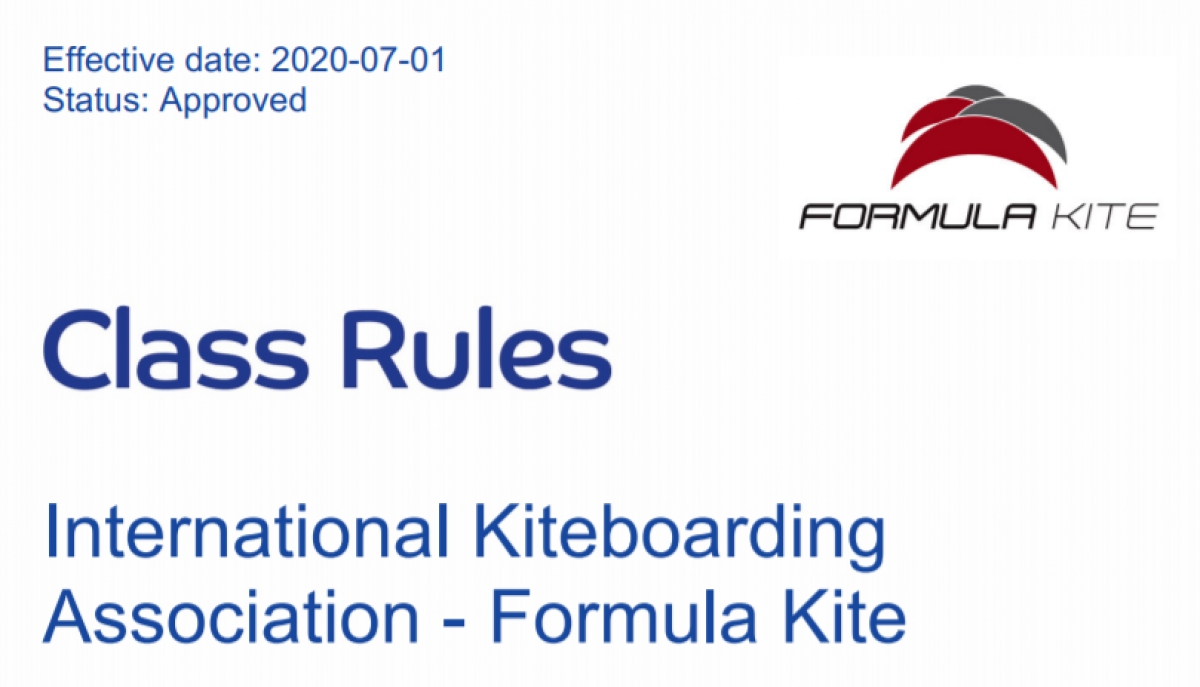 Formula Kite Class Rules Update and End of New Equipment Registration Process